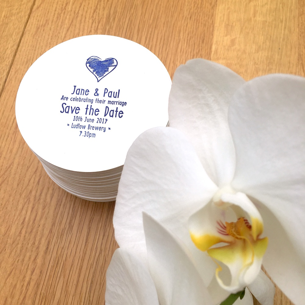 letterpress save the date wedding coaster