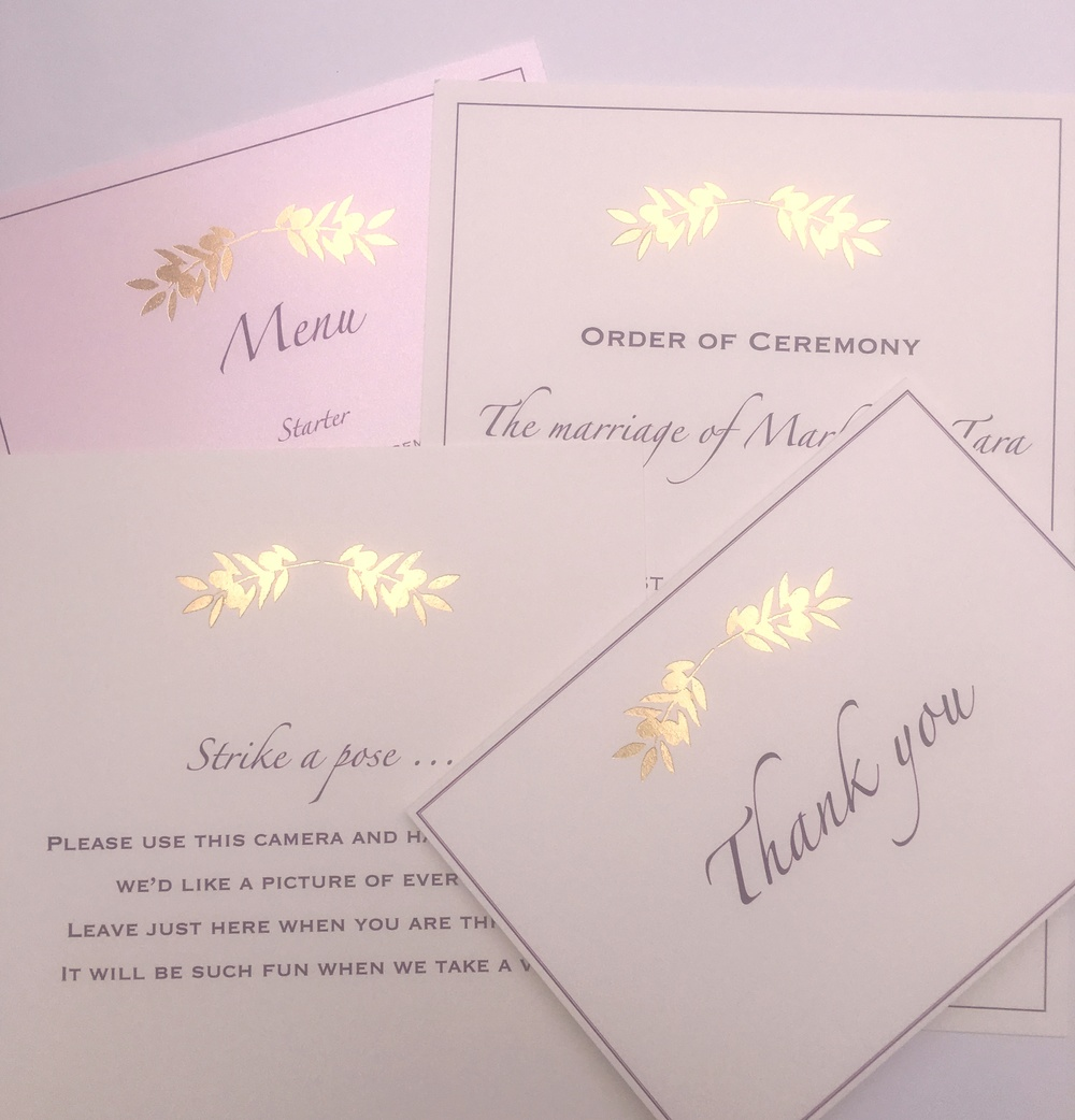 gold foil wedding stationery