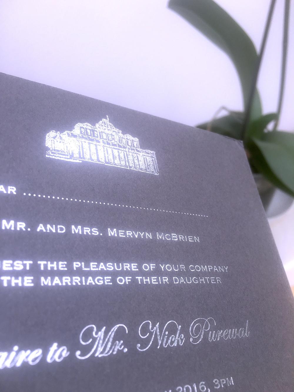 silver foil invitation