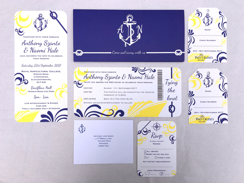 cruise ticket wedding invitation