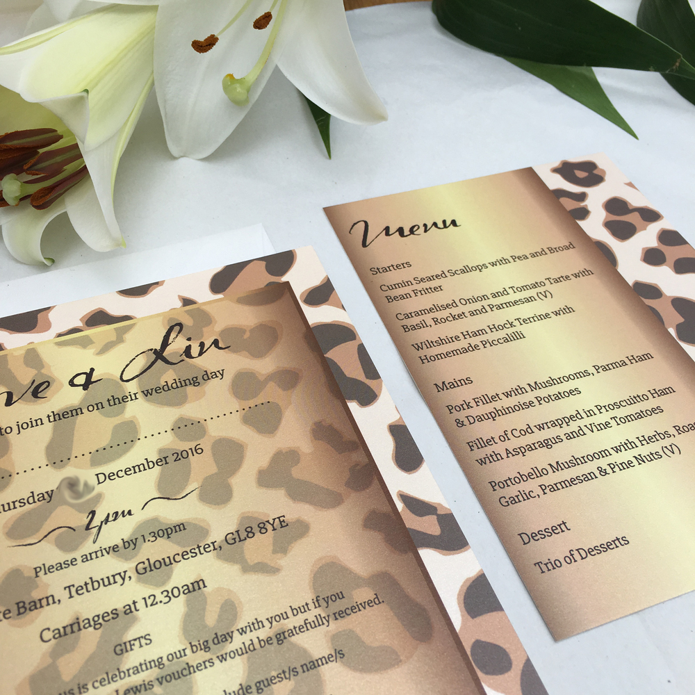 leopard wedding invitations