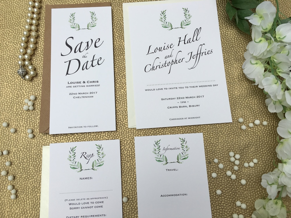 olive themed wedding stationery