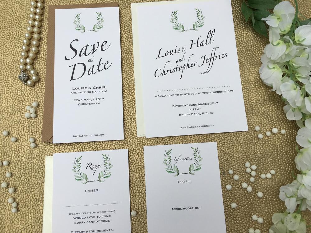 olive themed wedding stationery