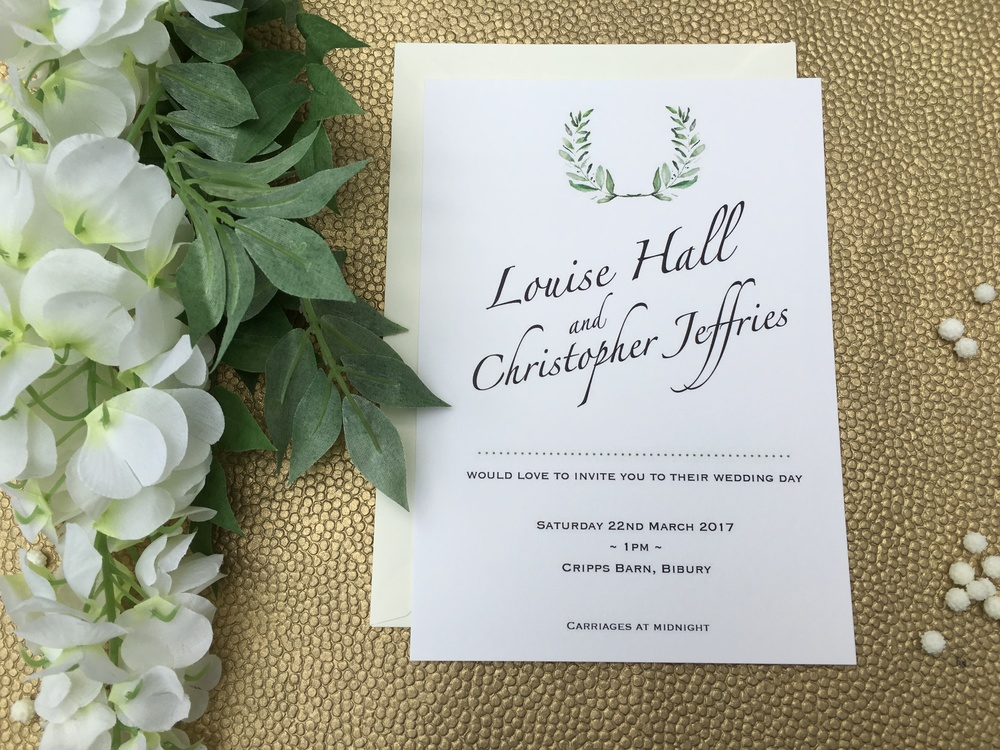 olive themed wedding invitation