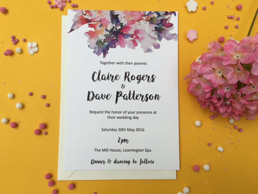 watercolour flower wedding invitations