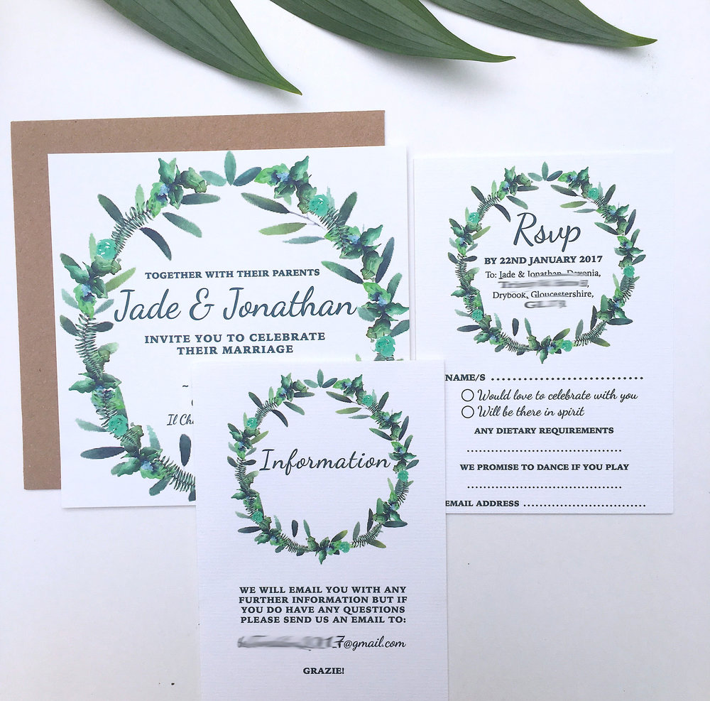 olive themed wedding invitations