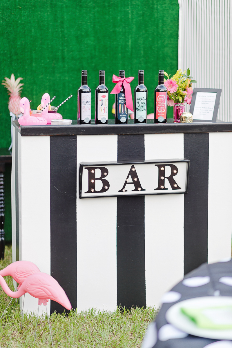 flamingo themed wedding bar