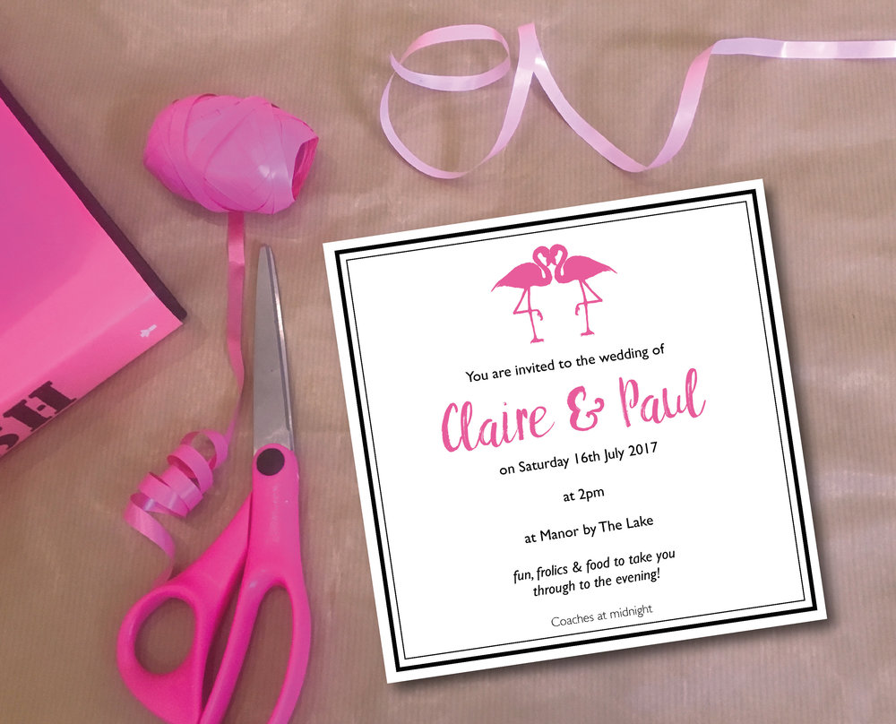 flamingo themed wedding invitation