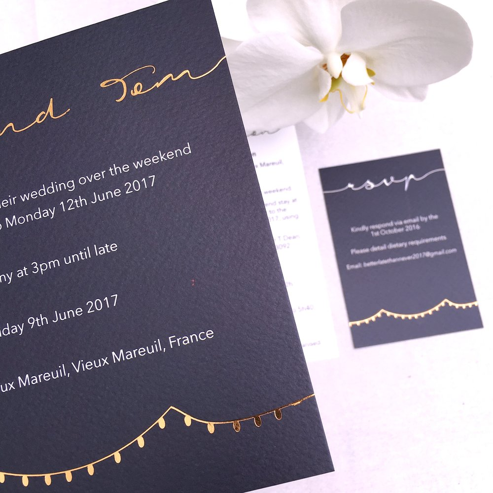 rose gold foiled wedding invitations
