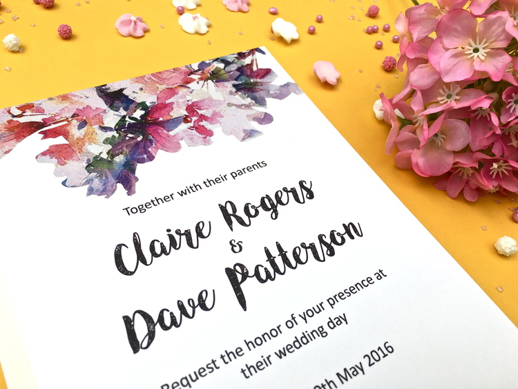 watercolour flower invitations