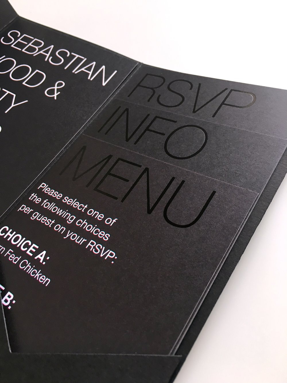 black on black wedding invitation