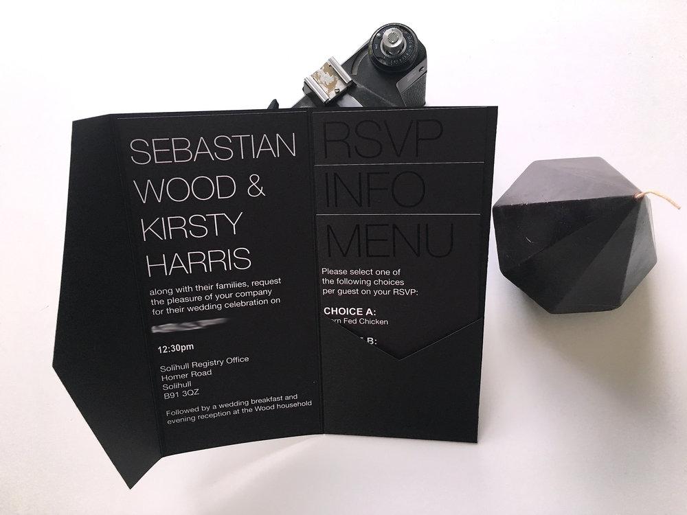black on black wedding invitation