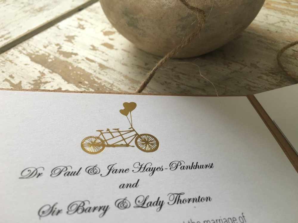 tandem bike invitation