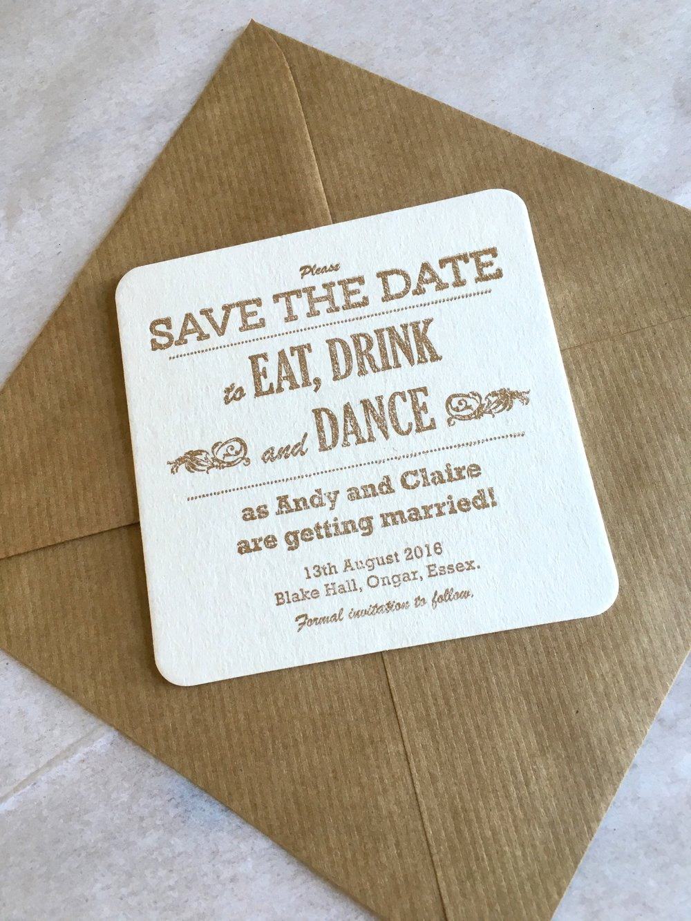 vintage save the date coaster