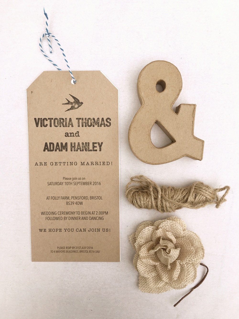 rustic travel tag wedding invitation