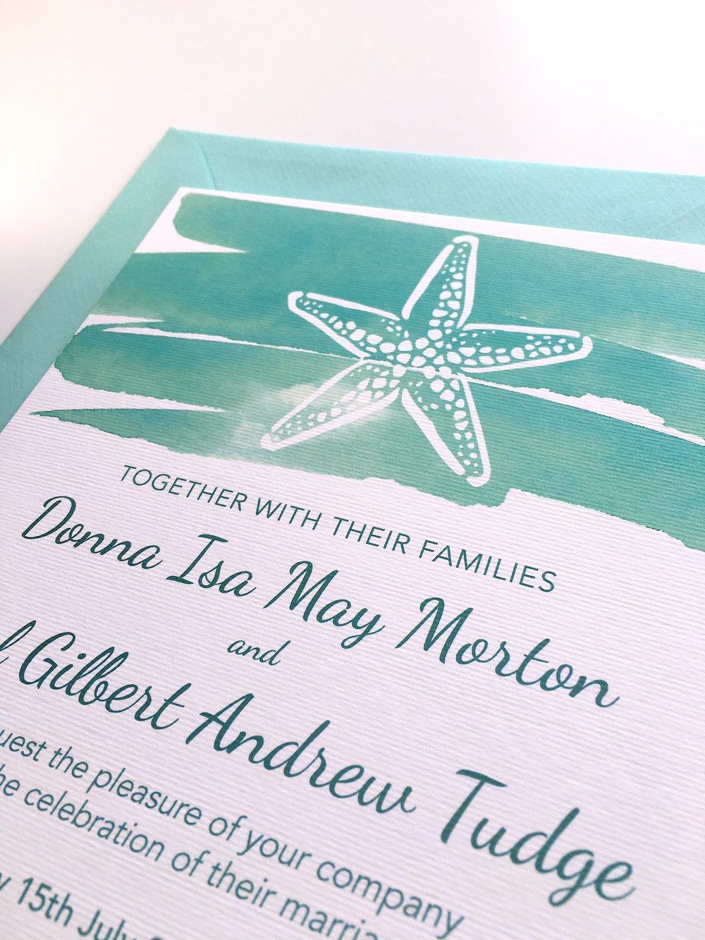 seaside turquoise wedding invites