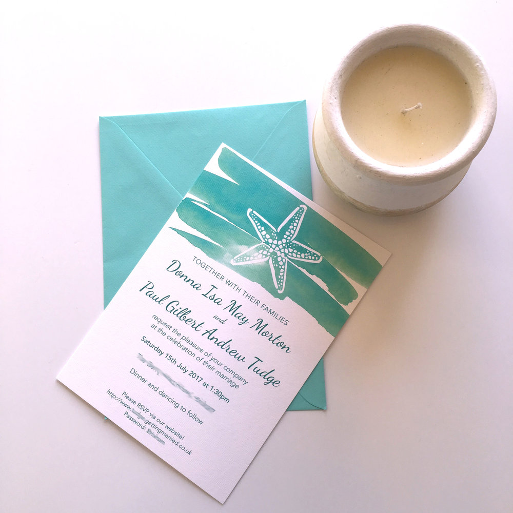 seaside turquoise wedding invites