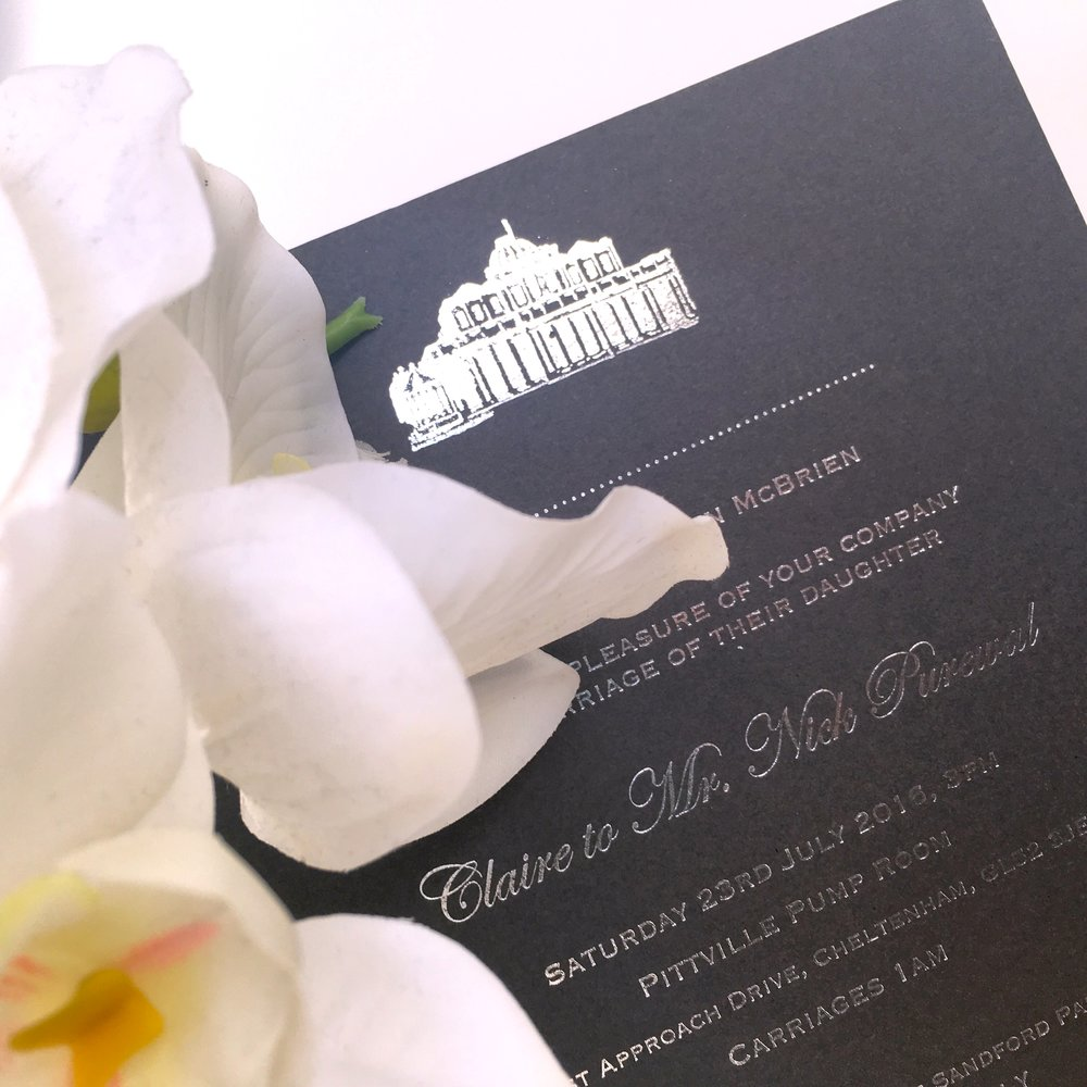 silver foil wedding invites