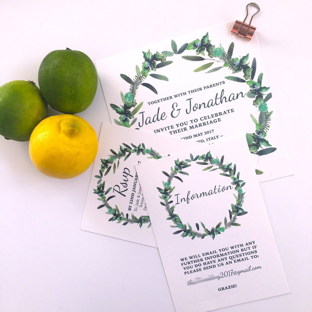 green leaf wedding stationery