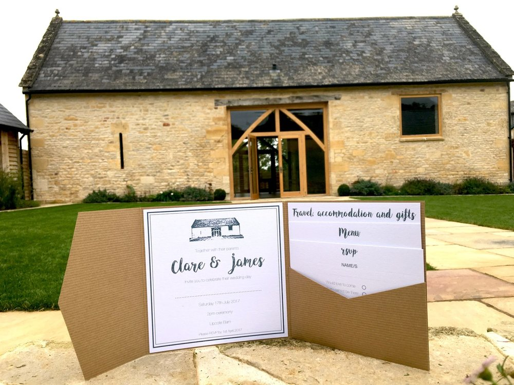 Bespoke Wedding Invitations Upcote Barn