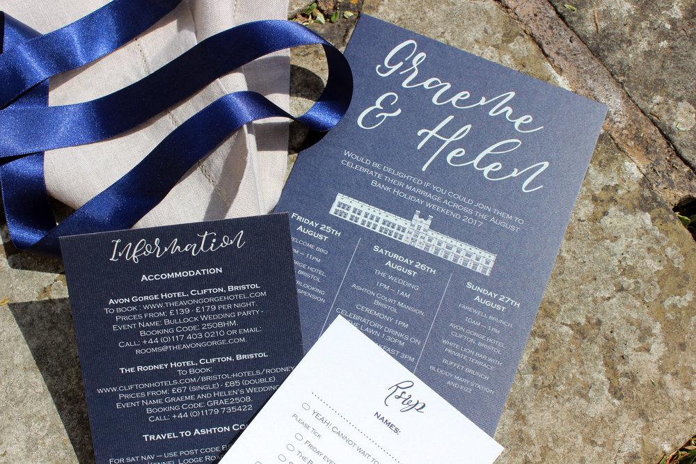 Navy & Light Grey Bespoke Wedding Invitation