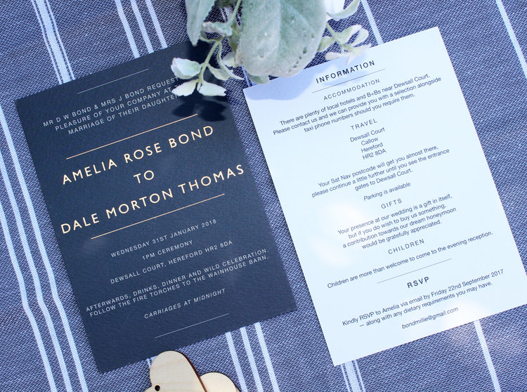 Navy & Rose Gold Wedding Invitation