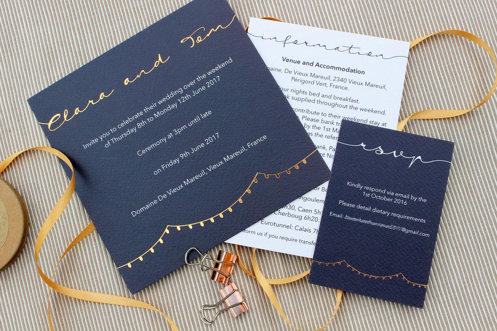 Navy & Rose Gold Bespoke Wedding Invitation
