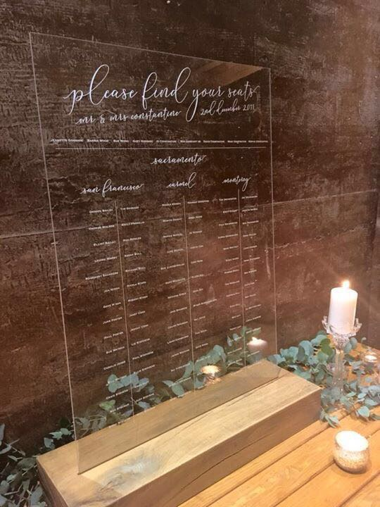 Perspex WEDDING table plan