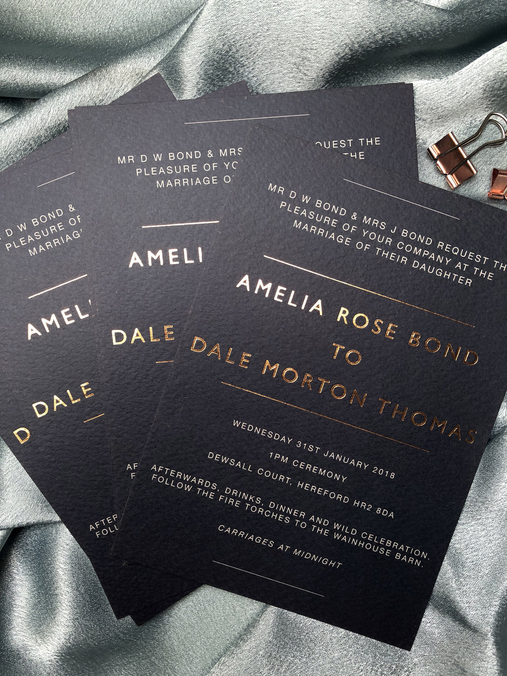 Rose gold and Navy Invitations