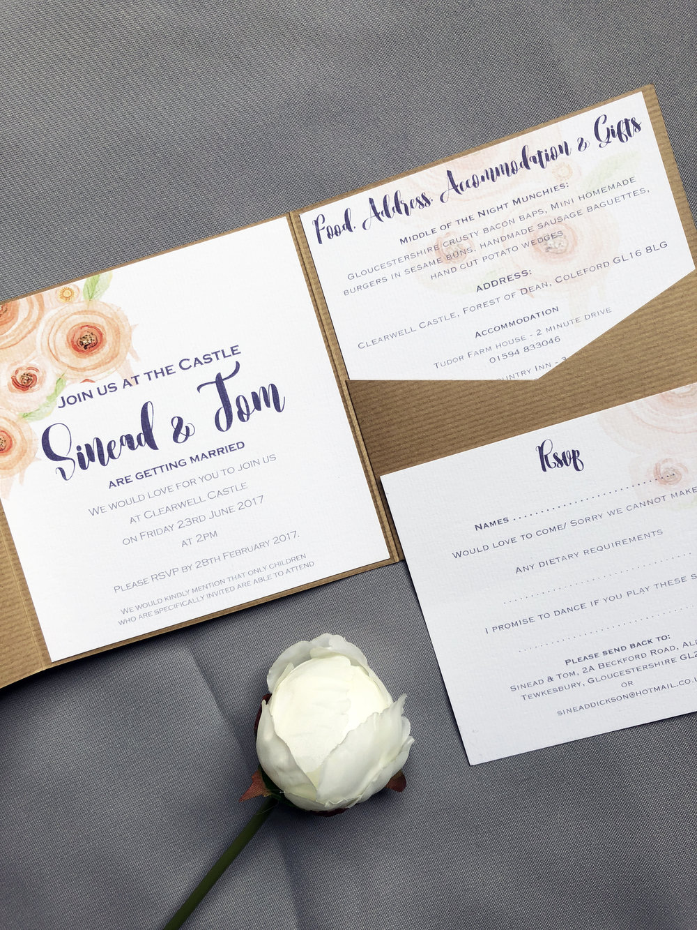 kraft pocketfold invitation
