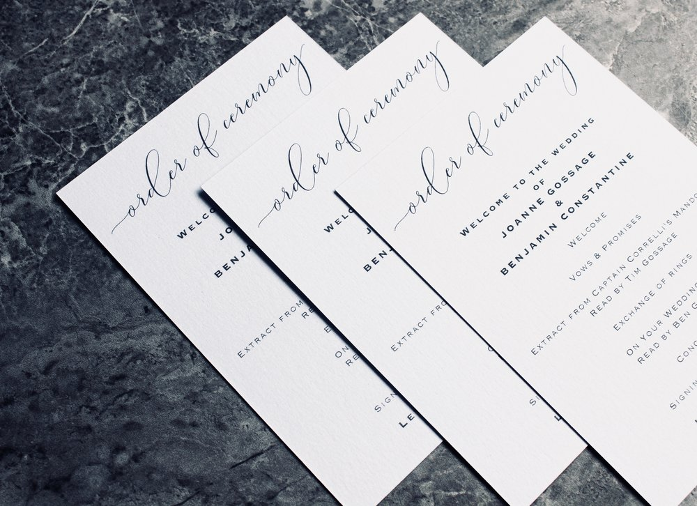 Order of Service Cards