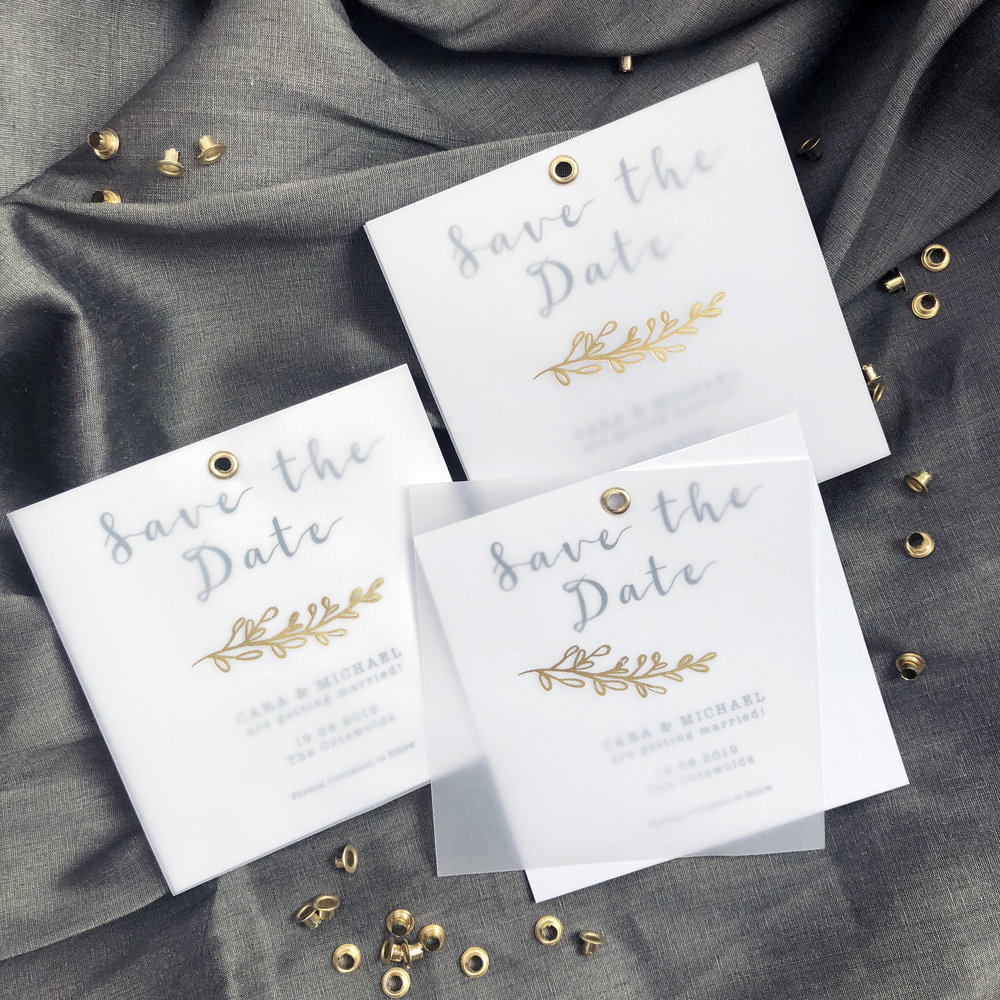 Vellum and Gold Save the Date Cards