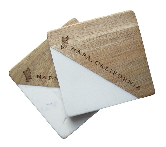 VINTAGE CLASSICS Marble & Mango Wood Coaster Sets, $20