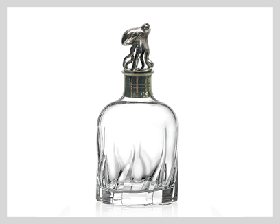 Menagerie Crystal Whiskey Decanters, $125