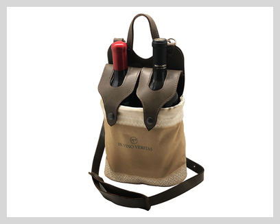 Italian Leather & Sailcloth Wine Carriers, $265