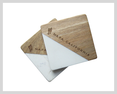 Vintage Classics Marble & Wood Coaster Sets, $20