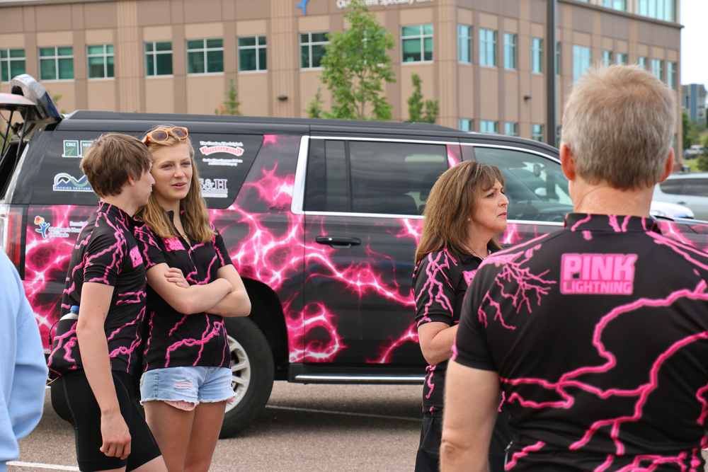 The Pink Lightning Team arrives