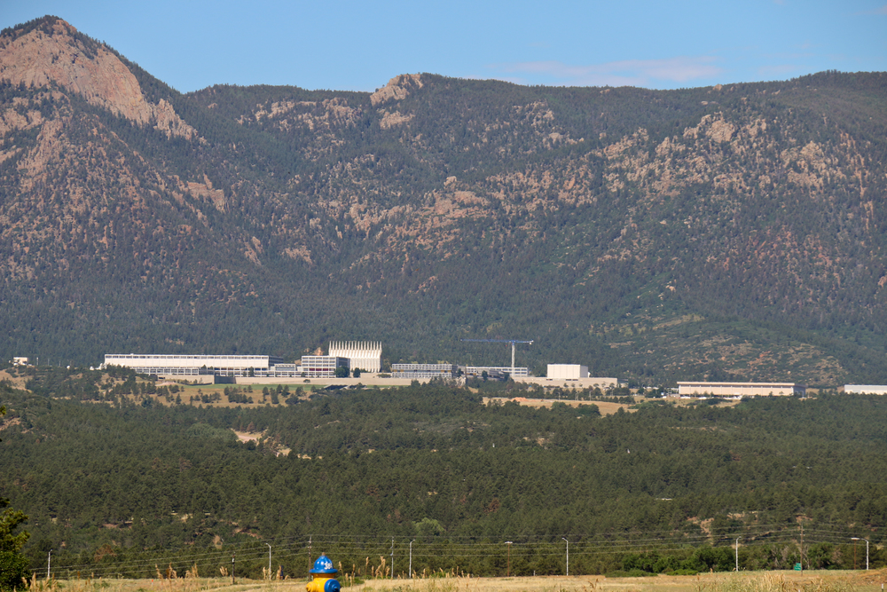 US Air Force Academy shines in the distance