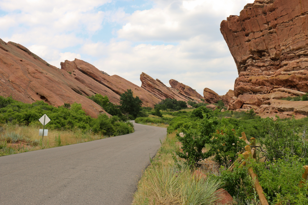Red Rocks on the right