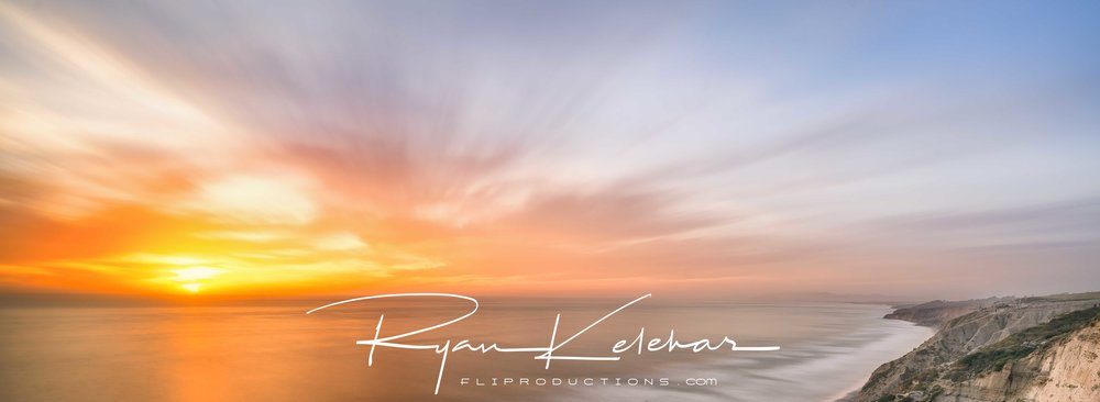 Panoramic Sunset Over Torrey Pines, San Diego Beach, California