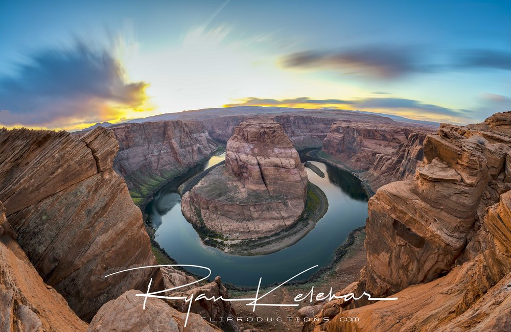 Sunset Image overlooking the Colorado River at Horseshoe Bend. L