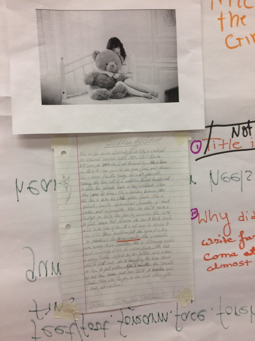 For this activity, students got into small groups, chose a photo, and wrote a story about the person in the photo.