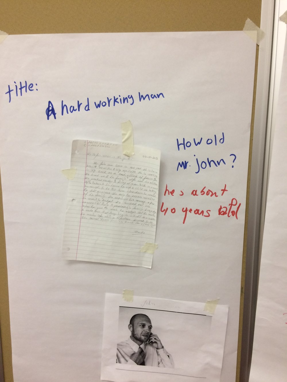 Story writers returned to their papers to read their stories'new titles and to answer the questions their classmates had left them.