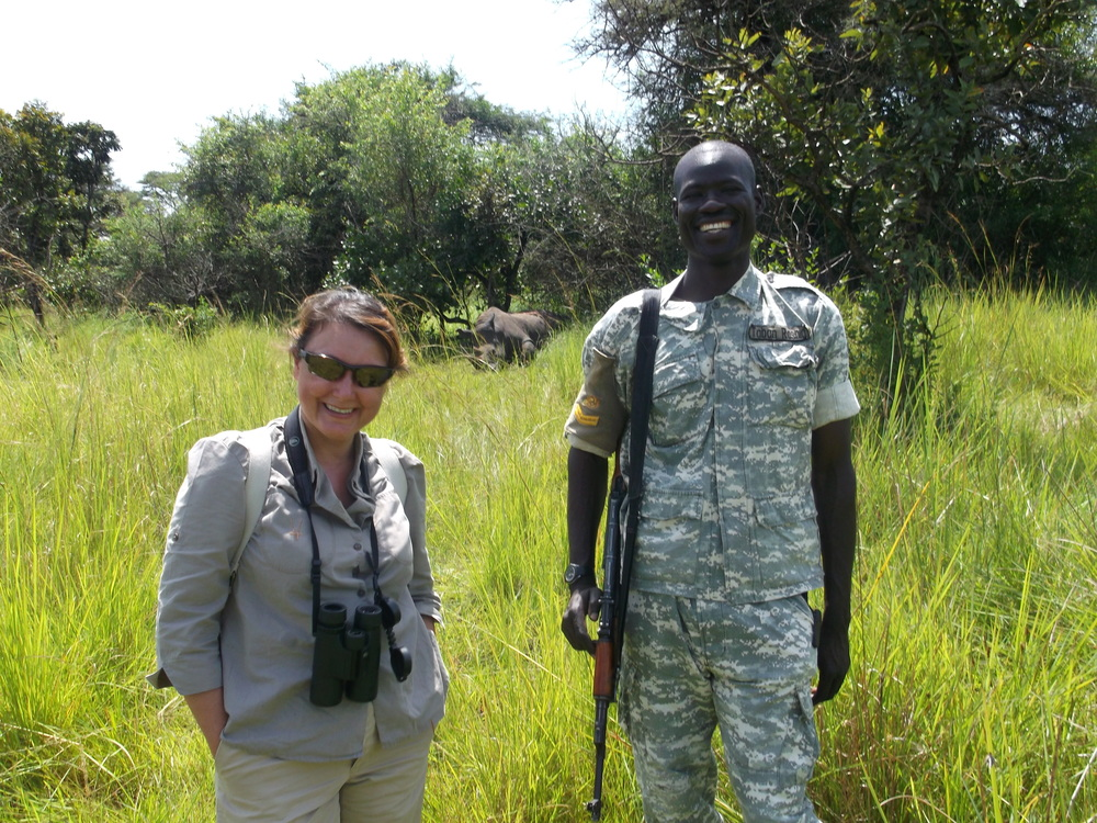 Amy Millican & Rashid Taban at   Ziwa Rhino and Wildlife Ranch, Rhino Fund, Uganda © Flyga Twiga LLC