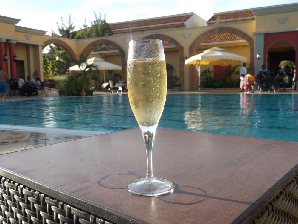 Champagne @ Serena Hotel, Lake Victoria, Kampala, Uganda © Flyga Twiga LLC