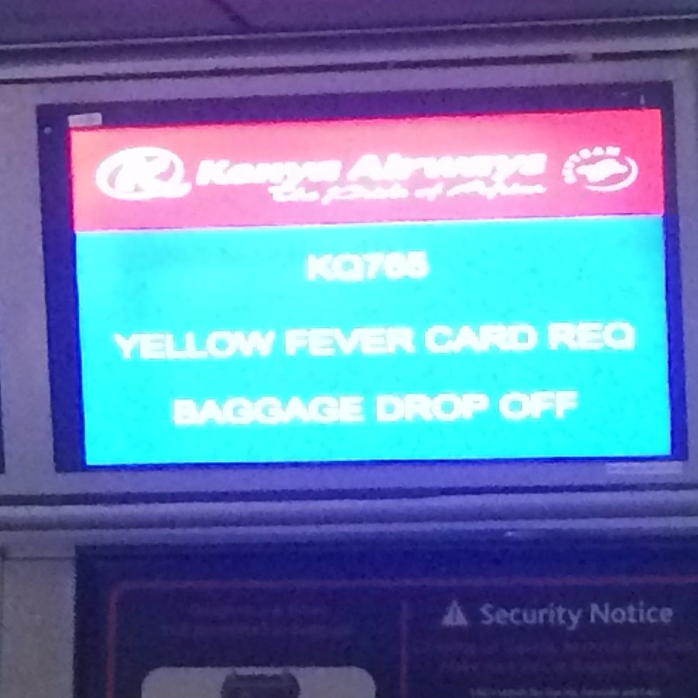 Yellow Fever Card Required © Flyga Twiga LLC