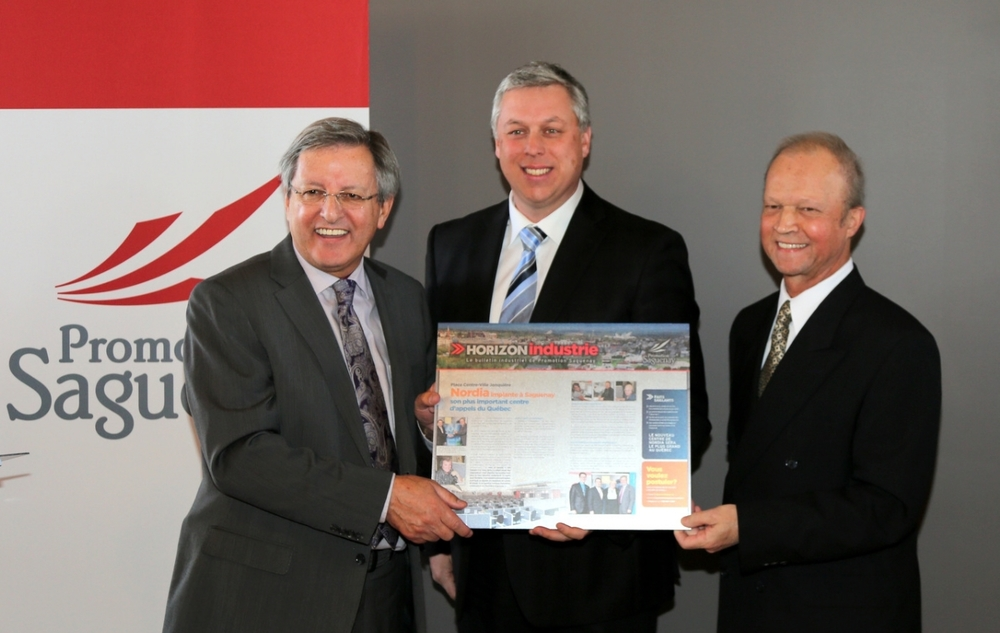 Mayor & President of Promotion Saguenay Jean Tremblay launches the 4th edition of ''Horizon Industrie'' with Nordia VP Operations Denis Huard and VP Cité des achats de Jonquière and Promotion Saguenay Board of Directors Member Raoul Gallichan.