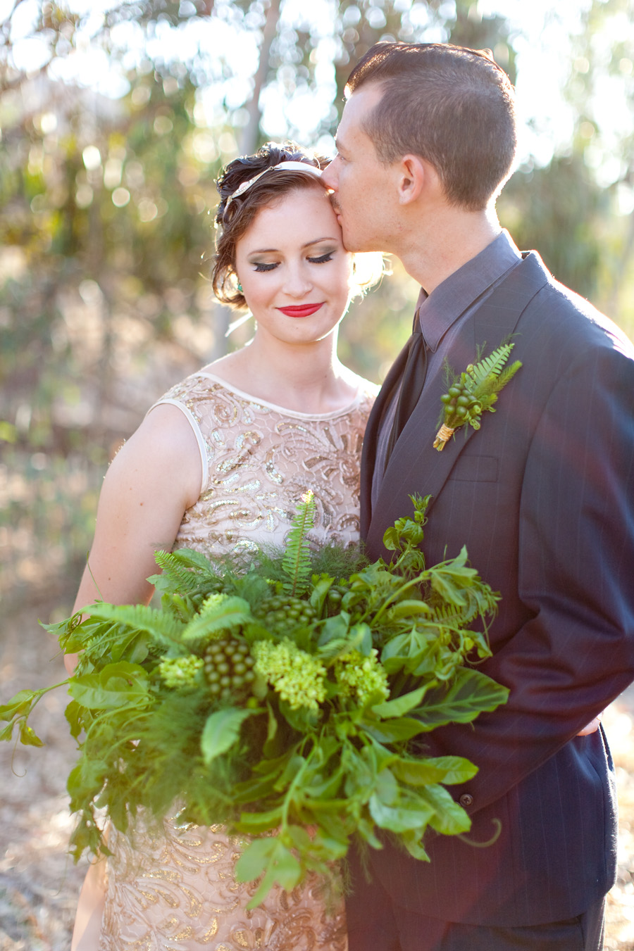 Green & gold bohemian bridal bouquet by San Diego florist, Compass Floral.