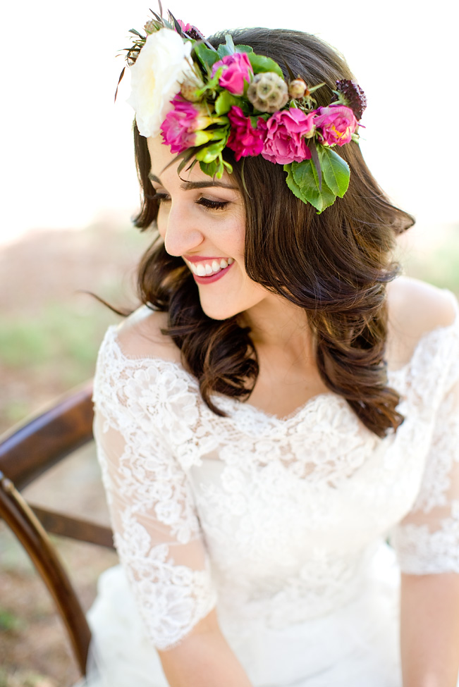 Bohemian flower crown by San Diego florist, Compass Floral.
