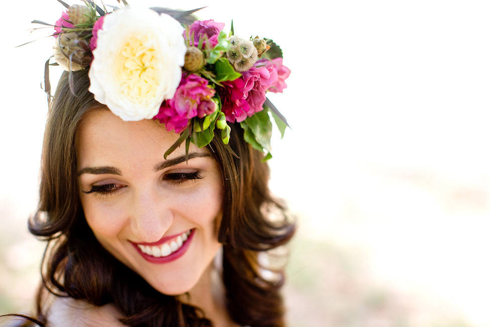Berry bohemian flower crown by San Diego florist, Compass Floral.